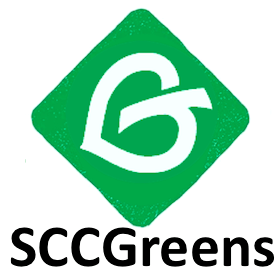 A green diamond with a leaf in it - logo of SCC Green Party