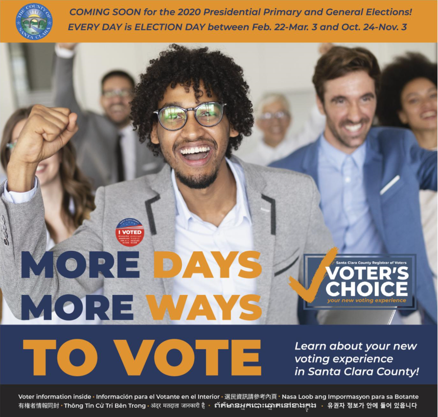 "Promotional graphic from Santa Clara County Registrar of Voters. Text detailed in the blog post. Black male wearing ""I Voted"" pin smiling excitedly with fist raised, white male and others in background."