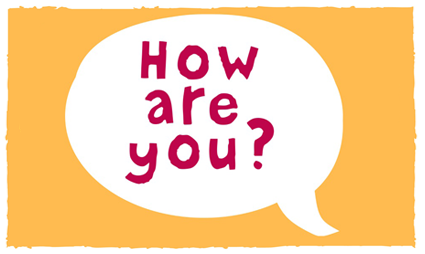 "Speech bubble with the words ""How are you?"""