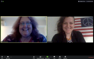 Michele and Tara working remotely via Zoom.