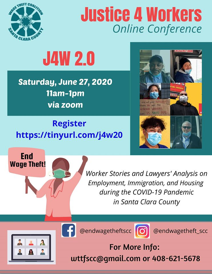 flyer for Wage Theft Coalition of Santa clara county with images of essential workers wearing masks and text about the event on Saturday June 27, 2020 via zoom.