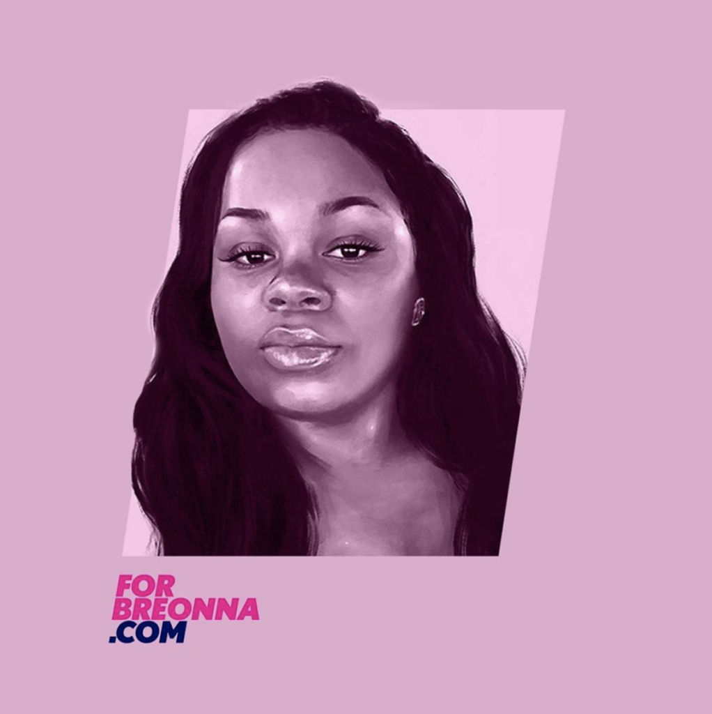 "Black and grey drawing of Breonna Taylor with a pink background, text of ""forbreonna.com"" in the bottom left corner"