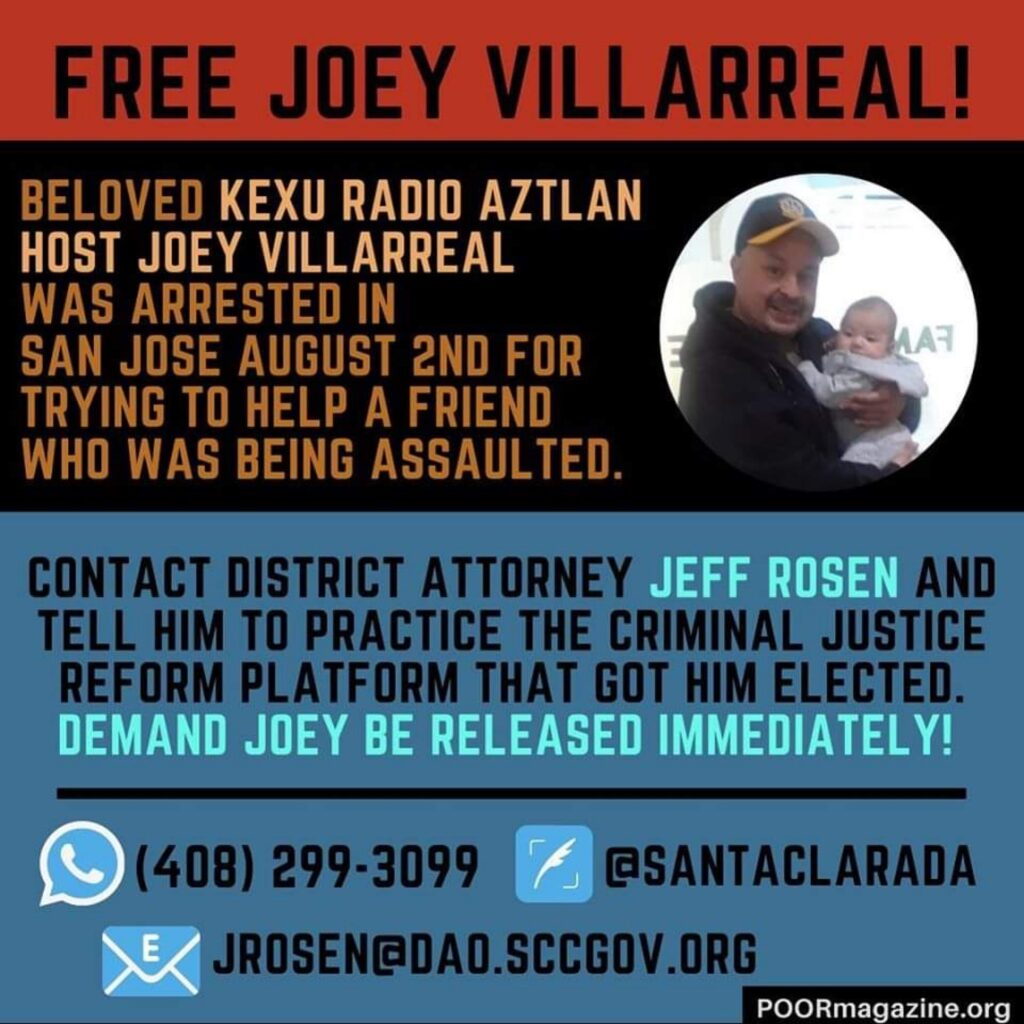 Picture of Joey Villarreal with contact details of district attorney Jeff Rosen to release Joey. (408)299-3099