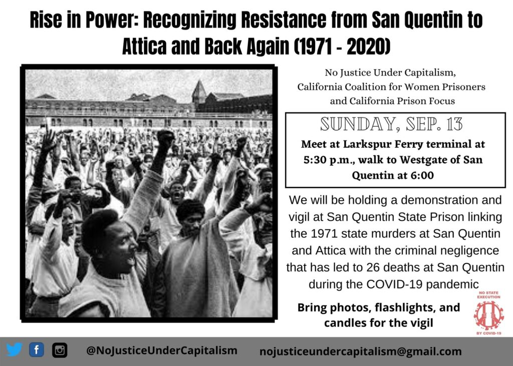 Flyer from Rise in Power showing a photograph of the resistance march in San Quentin from 1971.