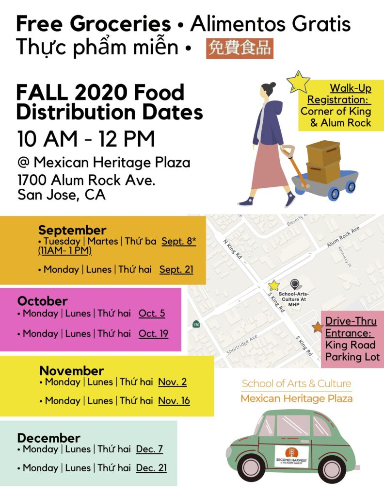 "A flyer of the food distribution that will be occurring at the Mexican Heritage Plaza (1700 Alum Rock Ave., San Jose). The flyer states ""Free Groceries"" with the following information:  Monday, October 5: 9AM to 12PM Monday, October 19: 9AM to 12PM Monday, November 2: 9AM to 12PM Monday, November 16: 9AM to 12PM Monday, December 7: 9AM to 12PM Monday, December 21: 9AM to 12PM"