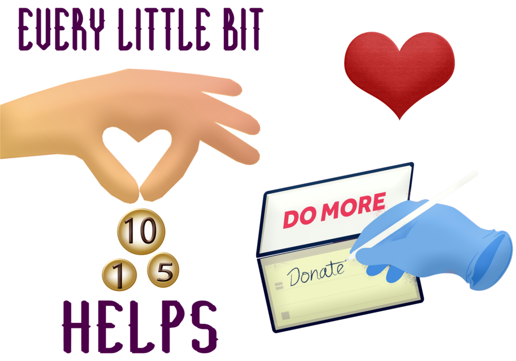 hand donating coins, hand writing check
