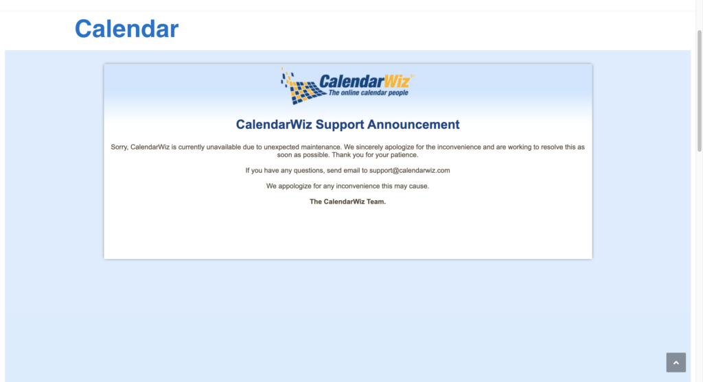 Image of the SJPJC website Calendar with a CalendarWiz support announcement on it, stating their service is down for unexpected maintenance.