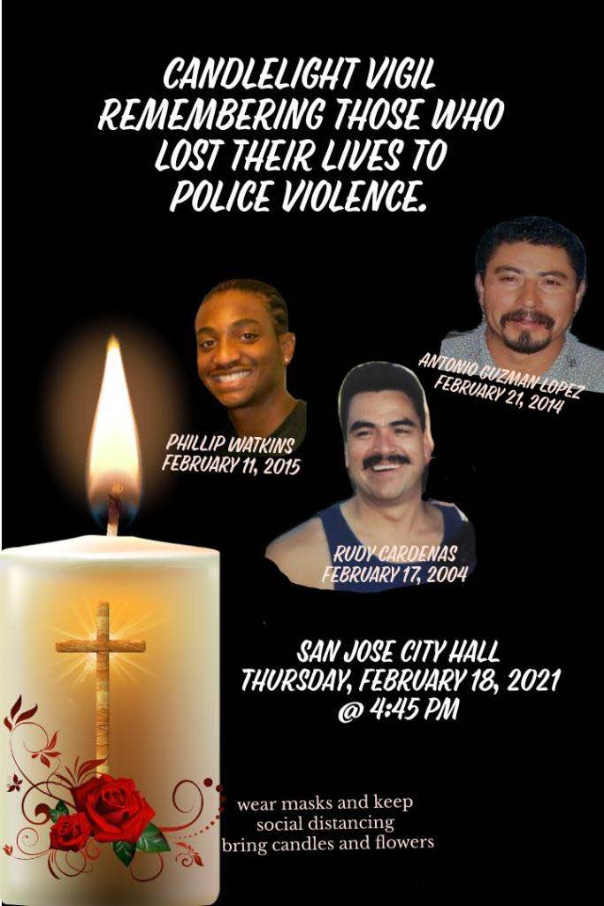 Black background with an image of a burning white candle that has a red rose and a golden cross on the front. Text: Candlelight Vigil Remembering Those Who Lost Their Lives To Police Violence.  Details of the event are included below in the blog post.