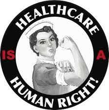"""A black circle that says """"Heathcare is a Human Right"""" in white and red font with a Rosie the Riveter female presenting person in the center of the circle."""