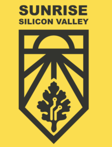 Hello background with a black design of a sun rising over a plant. Sunrise Silicon Valley logo