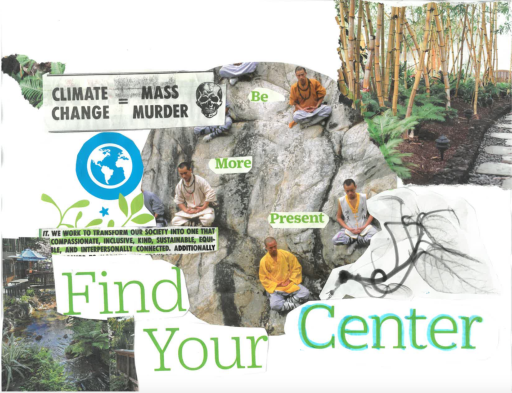 """Images of bamboo, male monks meditating on a large rock, and a river. Cut outs of text including """"Be More Present"""" """"Climate Change = Mass Murder"""" """"We work to transform our society into one that compassionate, inclusive, kind, sustainable, equitable, and interpersonally connected."""" and """"Find Your Center:"""
