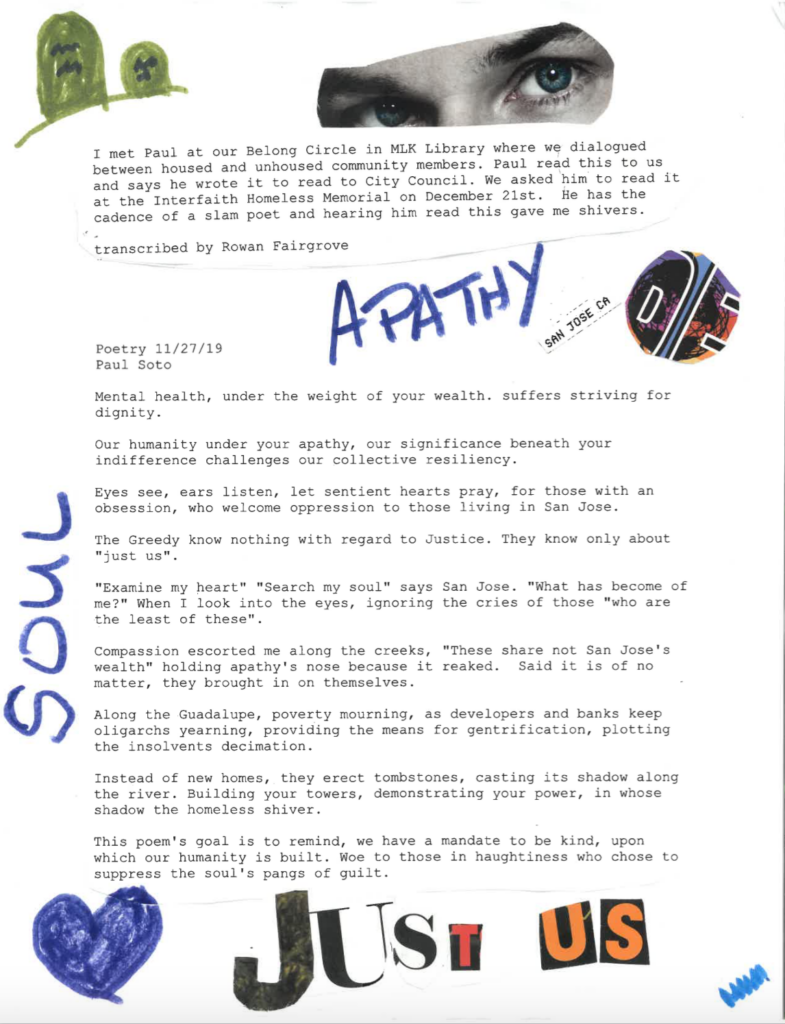 """A sheet made up of primarily text (text provided below) and images of blue eyes and letters cut out to spell """"Just Us"""". The words """"soul"""" and """"apathy"""" spelled out in marker. Drawing of a blue heart in bottom left corner, tombstones in top left corner."""