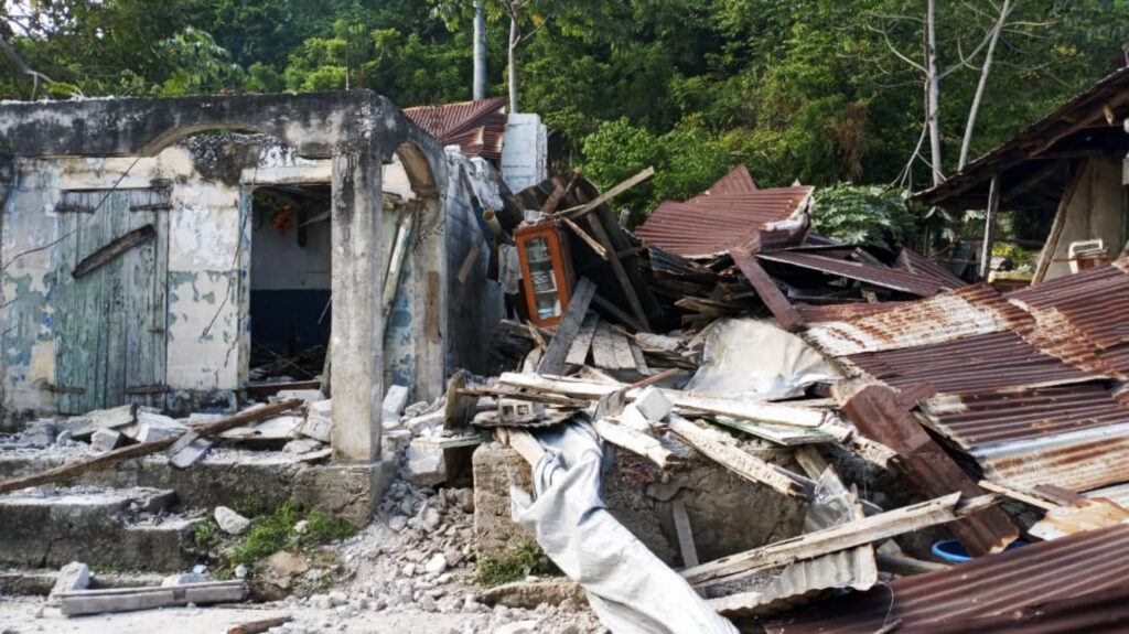 Small house destroyed by earthquake