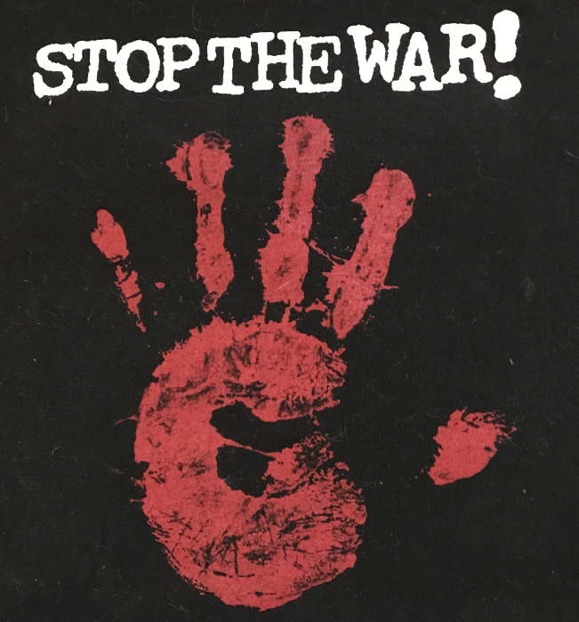 red hand imprint with stop the war!